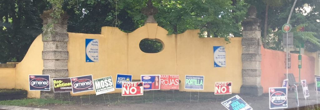 Banners adorn Coconut Grove early voting precinct