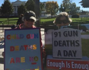 Onka Decker and Norma Allen protest in front of the White House the day before the election. (Photo by Christopher Diamond, BeltwayNews0